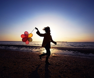 balloons, beach, and sky image