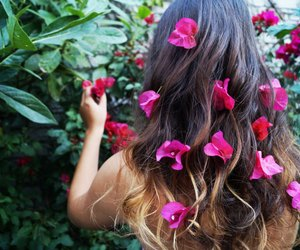 colors, flowers, and girl image