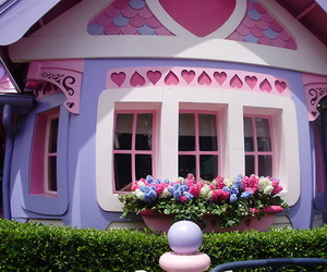 house, disney, and flowers image
