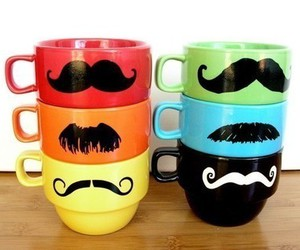 mustache, cup, and moustache image