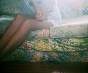 couch, floral, and flower image