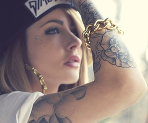 girl, tattoo, and swag image