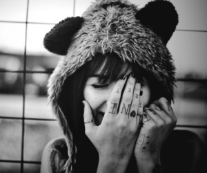 b&w, Chick, and Tattoos image