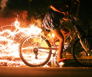 bike, girl, and fireworks image