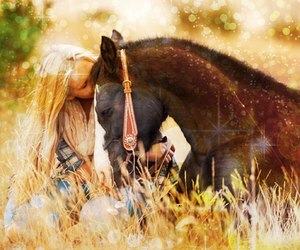 black horse, field, and girl image