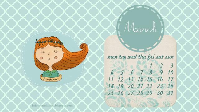 calendar, desktop, and flowers image