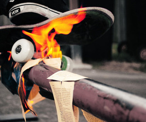 cool, fire, and skateboard image