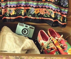 bag, camera, and floral image