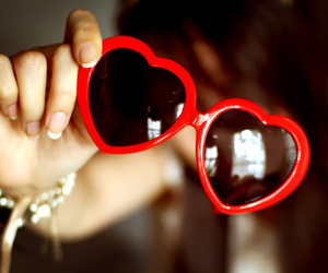 girl, love, and heart glasses image