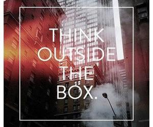 quote, think, and box image