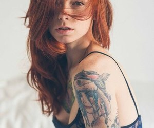 girl, tattoo, and redhead image