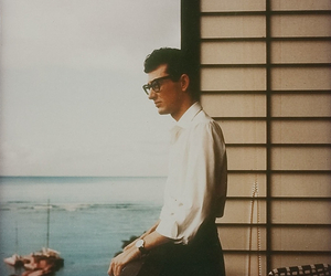 buddy holly, glasses, and music image