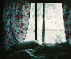 bed, window, and flowers image