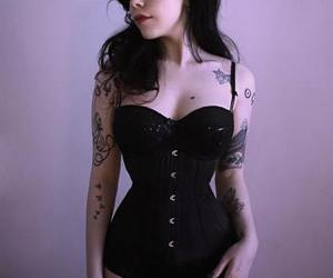 black, Tattoos, and corselet image