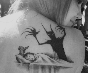 tattoo, monster, and black and white image