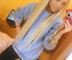 long hair, blonde, and hair image