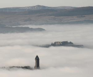 building, scotland, and fog image