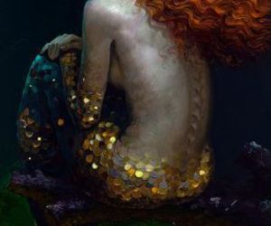 mermaid, art, and moon image