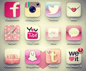 pink, facebook, and iphone image