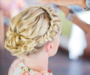 blonde, braid, and floral image