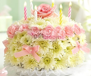 pink flowers, flower cake, and birthday flowers image
