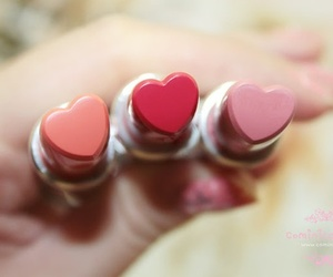 lipstick, heart, and pink image