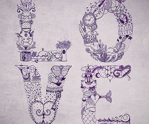 love, drawing, and type image