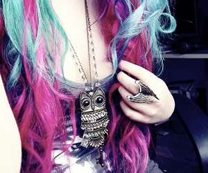 hair, pink, and owl image
