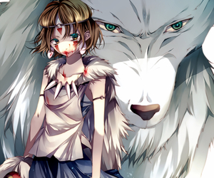 anime, princess mononoke, and wolf image