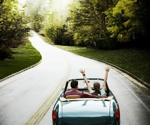car, couple, and road image