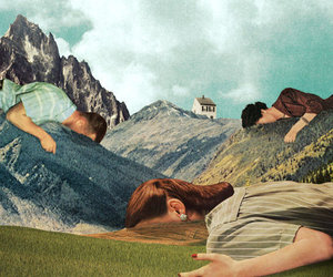 art, mountains, and people image