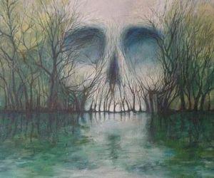 skull, tree, and art image