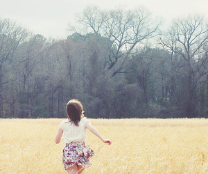girl, run, and nature image
