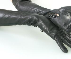 gloves, leather, and opera length image