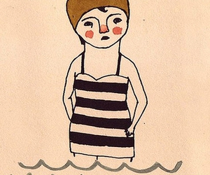 illustration, swimmer, and water image