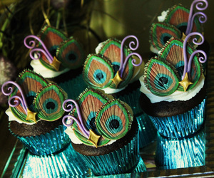 cupcake, peacock, and blue image