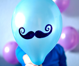 blue, balloons, and mustache image