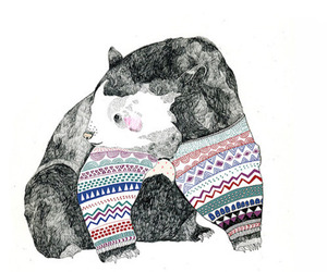 bear, drawing, and sweater image