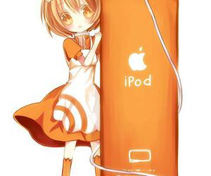 orange, anime, and ipod image