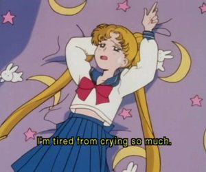crying, sailor moon, and depressed image