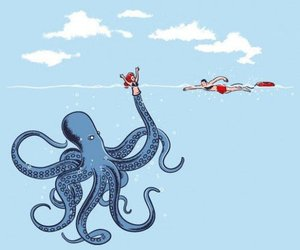 octopus, funny, and illustration image