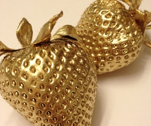 strawberry, gold, and fruit image