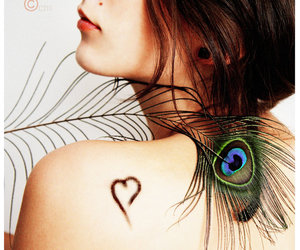 bird, feather, and brunette image
