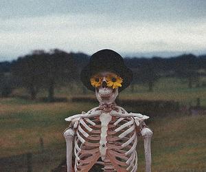 flowers, skeleton, and vintage image