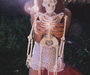 girl, skeleton, and bones image