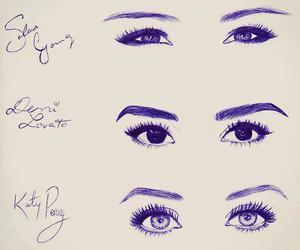 eyes, selena gomez, and demi lovato image