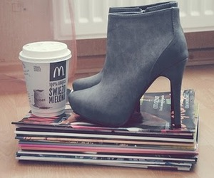 coffee, heels, and pretty image