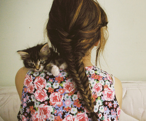 cat, dress, and floral image