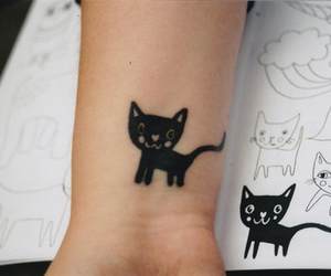 cat, tattoo, and kitty image