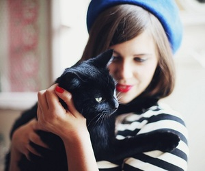 girl, cat, and vintage image
